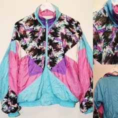 Vintage 90s windbreaker Vintage 90s windbreaker. Blue and pink color block patch pattern. In great condition. Size medium. Westside connection Jackets & Coats Puffers