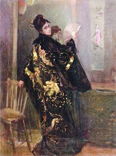 Alexander O. Levy - Woman in a Black Kimono