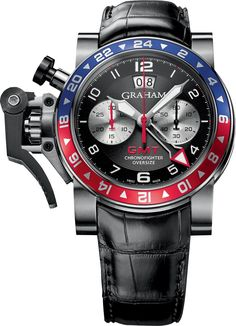 Nicknamed after the soda that filled the sweet tooth of a generation, the Chronofighter Oversize GMT uses the blue and red color scheme to delineate the AM/PM sector of the 24 Bezel. Oversize date dis