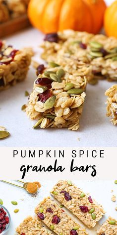These healthy pumpkin spice granola bars are packed with dried cranberries, pepitas and delicious pumpkin spice flavor! They're crunchy, delicious and perfect for the fall season. #granolabars #healthy #snack #glutenfree #pumpkinspice #breakfast #eatingbirdfood