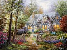 Nicky Boehme~ A Romantic Cottage Overgrown With Flowers To Share With Your Love And While Away The Hours