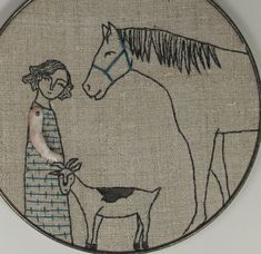 hand embroidery-girl with her horse and goat. $225.00, via Etsy.