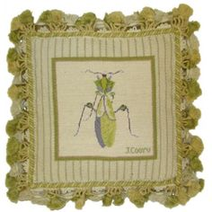 Green Grasshopper - 12 x 12 in. hand-stitched needlepoint pillow.  SRP 127.50.  Sale 105.