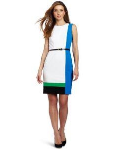 Calvin Klein Women's Cap Sleeve Dress, White Multi, 8