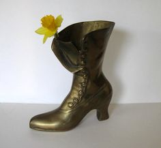 SALE Large Solid Brass Victorian Ladies Boot vintage
