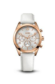 Hugo Boss Chronograph White Croc-Embossed Leather Watch. #Women, #Watches #White