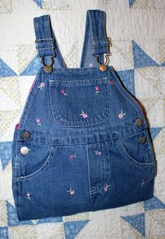 Up-cycled blue denim baby overalls lined purse #etsy  #etsyretwt