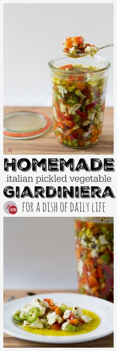 This recipe for Ital This recipe for Italian pickled vegetable giardiniera will perk up your cheese board and add zing to your favorite sandwich. Definitely a farmer's market favorite! https://www.pinterest.com/pin/74872412538990433/