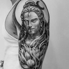 Here you will find most beautiful and attractive Shiva tattoo designs and ideas for your Shiva tattoos, Lord shiva beautiful tattoos and designs for men and women. Tatoo Hindu, Hindu Tattoos, God Tattoos, Religious Tattoos, Body Art Tattoos, Tattoos For Guys, Skull Tattoos, Symbol Tattoos, Lil B Tattoo