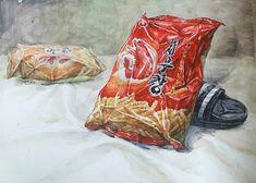 [펜톤미술학원] 회화 회화입시 예고입시 채색 예중입시 수채화 과자봉지 새우깡 예고수채화 예중수채화 정물수채화 수채화개체 드로잉 일러스트 artwork 개체묘사 Snack Recipes, Snacks, Chips, Drawings, Food, Snack Mix Recipes, Appetizer Recipes, Appetizers, Potato Chip