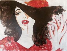 Lips in RED. Acrylic on canvas. Painting