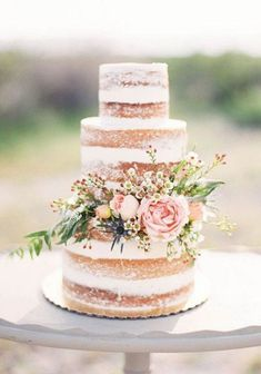 rustic naked wedding cake / http://www.himisspuff.com/200-most-beautiful-wedding-cakes-for-your-wedding/18/ #weddingcakes