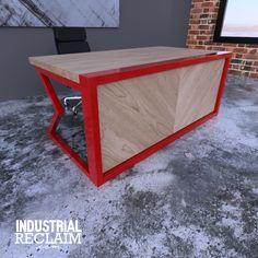 Modern Industrial Herringbone Desk.