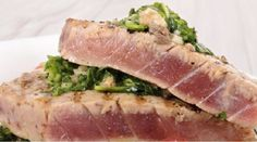 Ahi Tuna (Yellowfin) Steaks Grilled with a Mediterranean Flair. Yellowfin Tuna or Ahi Tuna is usually served either Raw, as in sushi or Seared. or Grilled. When I first had this tuna grilled in spain. Ahi Tuna Steak Recipe, Grilled Tuna Steaks, Tuna Steak Recipes, Best Fish Recipes, Grilled Fish Recipes, Seafood Recipes, Healthy Recipes, Local Seafood, Ahi Tuna Recipe Healthy