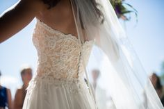 Lace wedding dress with hint of peach, hint of nude, lace wedding corset