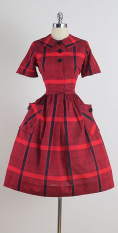 ➳ vintage 1950s dress * red & black plaid cotton * button front * pockets * by Sir Rob condition | excellent fits like medium length 42