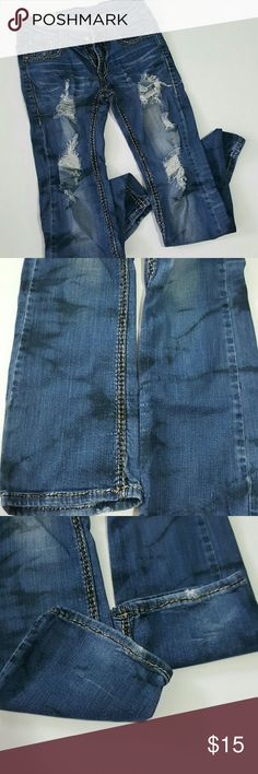 """Machine Destroyed jeans These jeans are AWESOME!! Destroyed and distressed! The distressing looks black... like oil marks! Thick stitching and adorable back pockets that make your booty look amazing! I got so many compliments on these! No wear around hem that wasn't there new. Waist measures 14"""" across and inseam is 30"""". machine Jeans Straight Leg"""