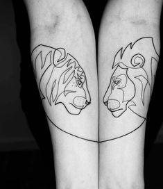 Amazing Minimalist Single Line Tattoos Art by Mo Ganji. Mini Tattoos, Bunny Tattoos, Body Art Tattoos, Small Tattoos, Lion And Lioness Tattoo, Tiger Tattoo, Lion Tattoo, One Line Tattoo, Single Line Tattoo