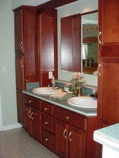 Double Vanity With Linen Cabinet Rustic Alder Double Vanity With Linen Towe