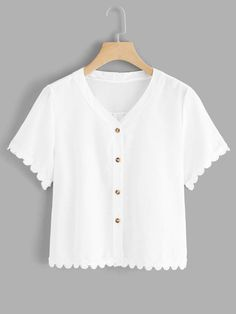 SHEIN offers Single Breasted Lace Trim Blouse & more to fit your fashionable needs. Indian Blouse, Blouse Online, White Style, White Casual, Single Breasted, Blouse Designs, Lace Trim, Fashion News, Cute Outfits