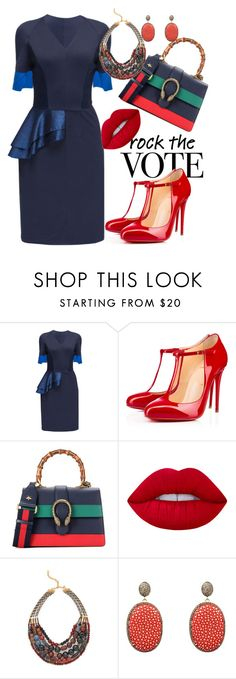 """""""Are you voting?"""" by oyinkan16 ❤ liked on Polyvore featuring Lattori, Christian Louboutin, Gucci, Lime Crime, David Aubrey and Latelita"""