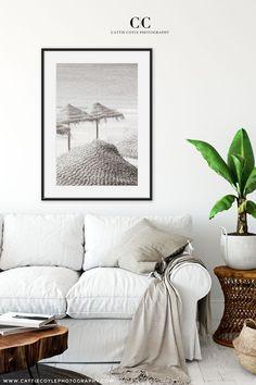 Straw beach umbrellas art print in nostalgic neutral sepia tones. Coastal Wall Decor, Beach House Decor, Boho Living Room, Living Room Decor, Coastal Living, White Beach Houses, Black And White Beach, Large Wall Art, Beach Day