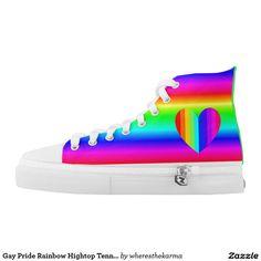 Gay Pride Rainbow Hightop Tennis Sneakers Printed Shoes