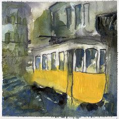 Electrico 28, Alfama, Lisboa (Portugal).  Aquarelle, feutre, Neocolor II. Watercolor, feltpen, Neocolor II.