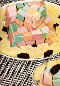 mysterious colored cubes in jello and then to be really festive prunes are scattered around the pineapple slices Gross Food, Weird Food, Darwin Awards, Vintage Cooking, Vintage Food, Weird Vintage, Kitsch, Bon Ap, Jello Molds