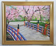 Vintage Folk Original Painting Japan Garden Pink Cherry Blossom Geisha  Astern  | eBay Pink Cherry Blossom Tree, Japan Garden, Pink Painting, Pink Art, Geisha, Original Paintings, Folk, Romantic, Japanese