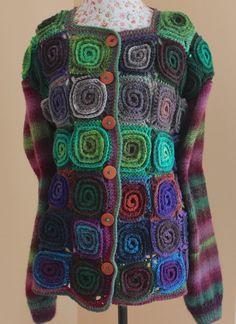 Handmade Knit Crochet Colourful Volumetric Spiral Motif cardigan/Plus size Coat/ Noro Yarn / Knit cardigan/Knit Wool cardigan/Women Cardigan