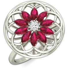 18kt White Gold Ruby and Diamond floral filigree cocktail ring