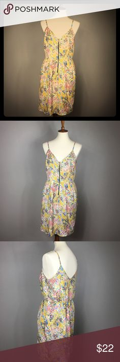 Anthropologie Peppermint Zip Sundress L Lined skirt. Zips in front. Has pockets!!! Perfect Spring pallet! Anthropologie Dresses Mini