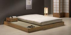 Akira Base. Solid hevea wood tatami platform lacquered in oak or wenge colours. Includes three 76 x 200 x 5.5 cm tatamis.