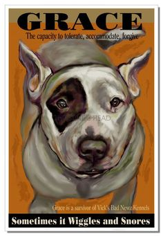 3' Pit bull Art Gift print former Vick dog Pit bull by Pupsketches, $95.00