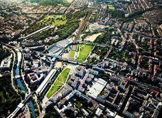 View from above onto the Park am Gleisdreieck in Berlin