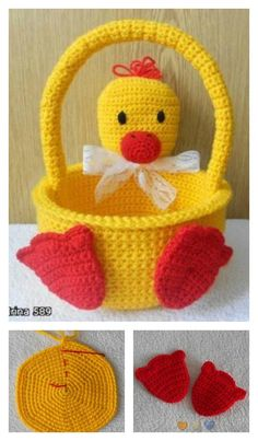 Crochet Duckling Basket Free Pattern ~ These would be so cute to make for the kids Holiday Crochet, Crochet Gifts, Crochet Dolls, Easter Crochet Patterns, Amigurumi Patterns, Diy Crochet Easter Basket, Crochet Baskets, Yarn Projects, Crochet Projects