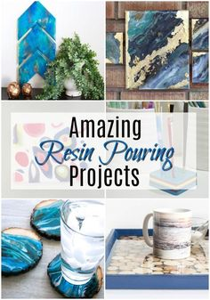 Amazing Resin Pouring Projects via Did you catch the resin pouring project month here last month? Such a fun and inspiring project, don't you think? Poured resin is so much fun to work with and it's amazing how many different Diy Resin Projects, Diy Resin Art, Epoxy Resin Art, Diy Resin Crafts, Diy Epoxy, Acrylic Resin, Diy Crafts To Sell, Craft Projects, Project Ideas