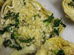 Kale stuffed artichoke recipe from Mediterra #seasonal