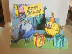 Tried a side step card.... fun. This is for a six yr old B-Day! She loves these birds !