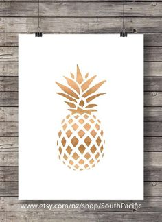 Rose Gold pineapple print - Copper tropical pineapple luxe gold wall art print…