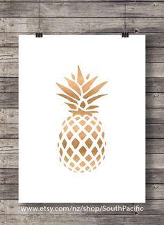 Digital art | Ananas Rose Gold impression | Ananas tropical en cuivre | Ananas doré | Impression d'Art faux feuille d'or | Luxe Decor maison moderne