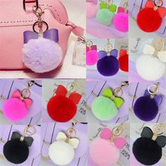 Fashion Rabbit Fur Key Chain Bag Charm Bowknot Key Ring Fluffy Ball Pendant #UnbrandedGeneric