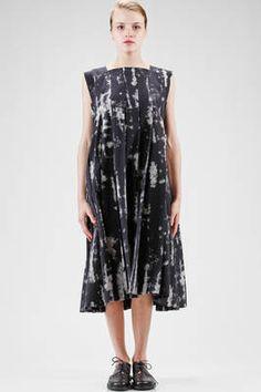 abito longuette, ampio, in tela di rexcell con stampa camouflage ad effetto nuvole - COMME DES GARÇONS