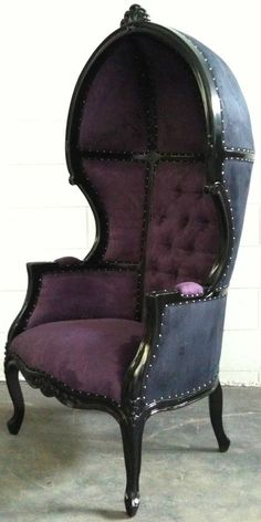 ..Glamorous Purple & Black Porters Chair #gothic #chair #design