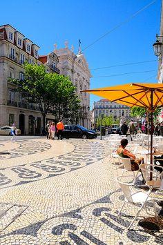 Chiado square near Santa Catarina one of the locations of the film Night Train to Lisbon.. Lisbon, Portugal