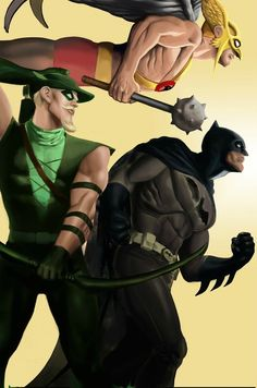 Hawkman, Green Arrow & Batman by Eric Koda League Of Heroes, Dc Heroes, Comic Book Heroes, Comic Books Art, Comic Art, Book Art, Dc Comics Characters, Dc Comics Art, Marvel Dc Comics
