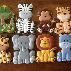 Baby shower cookies for boy safari 39 Ideas Zebra Cookies, Lion Cookies, Monkey Cookies, Fancy Cookies, Vintage Cookies, Sugar Cookies, Zoo Cake, Animal Cookie Cutters, Birthday Cookies