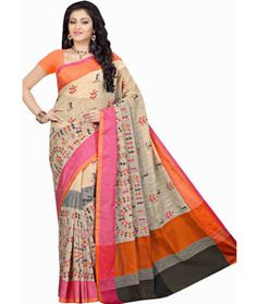 Buy Beige Cotton Saree With Blouse 71575 with blouse online at lowest price from vast collection of sarees at Indianclothstore.com.