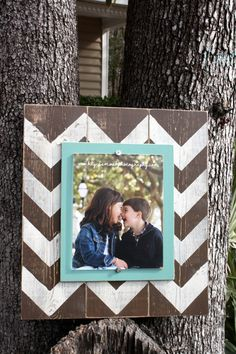 distressed picture frame aqua frame brown picture frame frame wood plank frame chevron frame made to order frame please